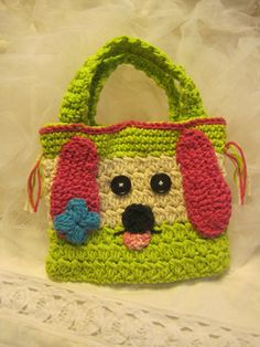 Crocheted Puppy Hand Bag for Children by CountryBumpkinBottle