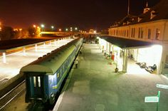 Windhoek railway station at night, with the Starline train to Keetmanshoop about to depart Photo courtesy of Rashid Khan.