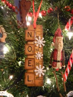 My version of the yardstick, scrabble tile ornament - others also on my blog.