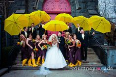 Great way to brighten a rainy wedding day! Lots of yellow umbrellas and wellies. Not letting the weather get them down Rain Wedding, Umbrella Wedding, Tent Wedding, Wedding Day, Wedding Umbrellas, Yellow Wellies, Rainy Day Photos, Wedding Styles, Wedding Photos