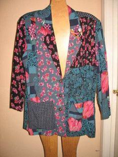 VTG Carole Little JACKET floral PATCHWORK boho hippie FESTIVAL artsy blue black…