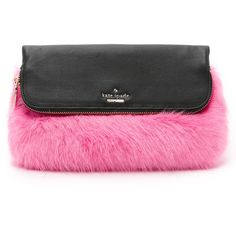 Kate Spade New York Faux Fur Clutch (415 CAD) ❤ liked on Polyvore featuring bags, handbags, clutches, pink multi, kate spade purses, pink purse, kate spade clutches, pink metallic handbag and faux-fur handbags