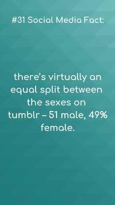 Social media facts #31  It's interesting to see that there is a virtually equal split among the sexes on the tumblr.  #smf #socialmediafacts #tumblr