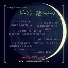 Some New Moon Intentions and Affirmations To Guide You - Healing with Spirit with Laura Are you ready to manifest? Create something magnificent? The new moon is a perfect time to hit that reset button and open yourself up to new beginnings. New Moon Facts, Moon Spells, Wiccan Spells, Magick, Pagan, Spiritual Medium, New Moon Rituals, Manifestation Journal, New Beginning Quotes
