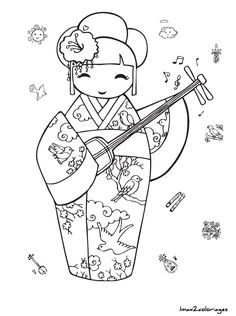 "iColor ""Kokeshi Dolls"" etc. Colouring Pages, Printable Coloring Pages, Adult Coloring Pages, Coloring Sheets, Coloring Books, Holly Hobbie, Hand Embroidery Patterns, Embroidery Designs, Embroidery Thread"