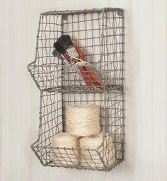 Glory & Grace Rustic Industrial 2 Bin General Store Wire Basket Rack