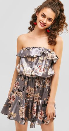 Occasion: Daily Style: Fashion Fit Type: Loose Collar-line: Strapless Sleeves Length: Sleeveless Material: Polyester Pattern Type: Floral Decoration: Flounce Season: Summer Floral Dress Outfits, Girls Dresses, Summer Dresses, Holiday Dresses, Beautiful Gowns, Jumpsuits For Women, Ruffle Dress, Daily Style, Rompers