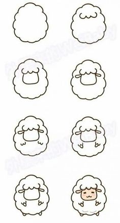 sheep drawing step by step - sheep cute step drawing . - Cute sheep drawing step by step - sheep cute step drawing . - Cute sheep drawing step by step - sheep cute step drawing . Cute Easy Drawings, Cute Animal Drawings, Kawaii Drawings, Simple Drawings For Kids, Drawing Animals, Simple Cartoon Drawings, Easy Drawing Tutorial, Doodle Art For Beginners, Easy Doodle Art