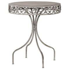 Grey-Wash Round Metal Garden Table ($120) ❤ liked on Polyvore featuring home, outdoors, patio furniture, outdoor tables, metal outdoor table, round outdoor furniture, round outdoor table, metal outdoor furniture and metal patio furniture