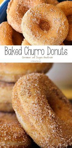Baked Churro Donuts are an easy homemade donut recipe. Coated in cinnamon & suga. Baked Churro Donuts are an easy homemade donut recipe. Coated in cinnamon & sugar they taste just like the churros y Easy Donut Recipe, Baked Donut Recipes, Baking Recipes, Sugar Doughnut Recipe, Mexican Donuts Recipe, Bisquick Donut Recipe, Churro Donuts, Baked Doughnuts, Baked Churros