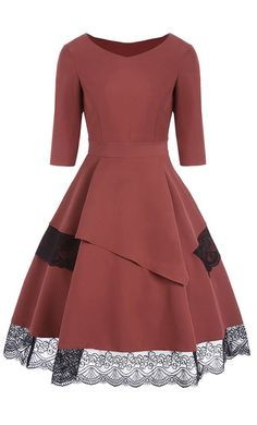 Womens Patchwork Rust Fit and Flare Dress