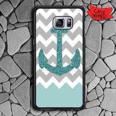 Chevron Glitter Blue Samsung Galaxy S6 Edge Black Case