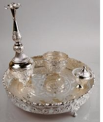 Indian Wedding Gift Articles : 1000+ images about silver pooja items on Pinterest Dinner sets ...