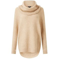 Miss Selfridge Camel Slouchy Cowl Neck Knitted Jumper ( 61) ❤ liked on Polyvore  featuring 0e6a4d5c7