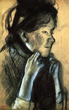 Woman Tying the Ribbons of Her Hat : Edgar Degas : Museum Art Images Edgar Degas, Degas Drawings, Art Ancien, National Gallery Of Art, Portraits, Renoir, French Artists, Life Drawing, Gouache