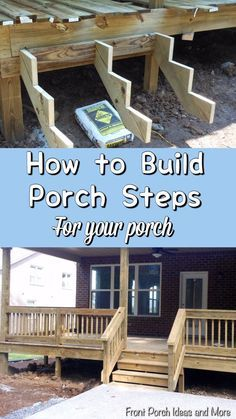 to Build Steps Pictures and tips for building steps to your porch on Front Porch Ideas and More.Pictures and tips for building steps to your porch on Front Porch Ideas and More. Front Porch Stairs, Front Deck, Building Stairs, Building A Porch, Building Deck Steps, Diy Porch, Diy Deck, Diy Front Porch Ideas, How To Build Porch Steps