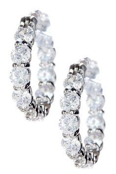 HauteLook | All That Glitters: Clear Round CZ Hoop Earrings
