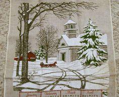 Vintage Calendar Tea Towel, 1979 Calendar Tea Towel, Winter Scenery by VintagePlusCrafts on Etsy