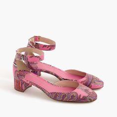 Paisley printed leather heels