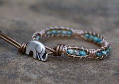 chic leather wrap bracelet elephant etsy
