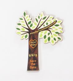 Check out this unique color printed tree cut-out magnet save the date Ink Stamps, Save The Date Magnets, Save The Date Cards, Pine Beetle, Tree Cut Out, Leather Keyring, Small Art, Custom Wood