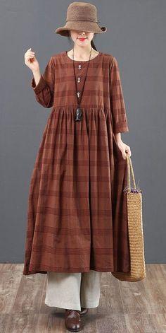 Spring Loose Cotton Plaid Maxi Dresses For Women 6151 – Linen Dresses For Women Linen Dresses, Modest Dresses, Modest Outfits, Cute Dresses, Casual Dresses, Maxi Dresses, Cotton Dresses, Muslim Fashion, Modest Fashion