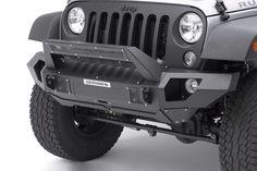 Go Rhino Front Bumper with Straight End Caps and Roadline Light Mount Bar for 07-17 Jeep® Wrangler and Wrangler Unlimited JK | Quadratec