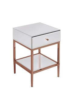 Stiletto Toughened White Glass and Rose Gold Side Table /My Furniture/side table/rose gold/bedside table Room Decor Bedroom Rose Gold, Rose Gold Rooms, Bedroom Decor For Teen Girls, Room Ideas Bedroom, Bedroom Furniture, Rose Gold Bedroom Accessories, Rose Gold And Grey Bedroom, Rose Gold Side Table, Cute Room Decor