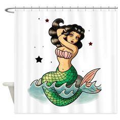 Old School Mermaid Shower Curtain on CafePress.com