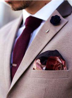 cf65eb1b1e1a4 Mens Fashion: brown blazer with contrast collar, white shirt, burgundy tie… David  Wej