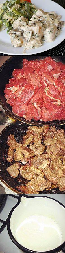 Мясо под сырным соусом | Банк кулинарных рецептов