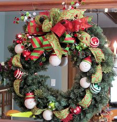 Wreath Tutorial - Some good ideas on bows & how to attach decorations