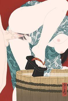 """Asaburo"" Shunga print"