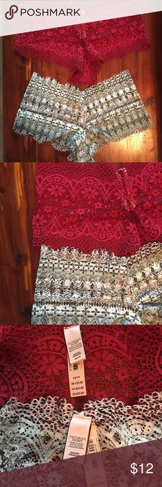 """Victoria's Secret Crochet Shortie Panty Lot XS NWT You will receive both pairs of panties pictured. These are the highly sought after """"Crochet Sexy Shortie"""" style from Victoria's Secret. These retail $25.00 EACH. The colors are """"Candy Apple Red"""" and """"Coconut White Fairisle"""". Both are brand new with tag from the Holiday 2016 collection. Size XS.   *Price is firm  Bras in last photo not included. Victoria's Secret Intimates & Sleepwear Panties"""