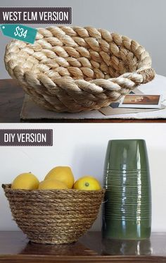 "Craft a rope bowl. | 24 West Elm Hacks. ""All you need to make a similar bowl is rope and a hot glue gun."""