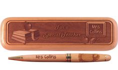 Personalized Wooden Pen and Box engraved for your favorite teacher.