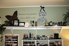 I love the top shelve.  may copy that as I re-do the wall in my sb room