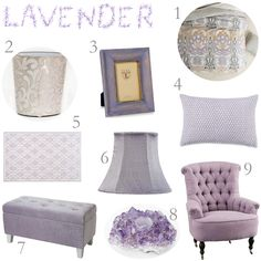 Lavender and gray. I like the duvet and waste basket