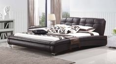 Clark Queen Size Leather Bed - Lounge Life