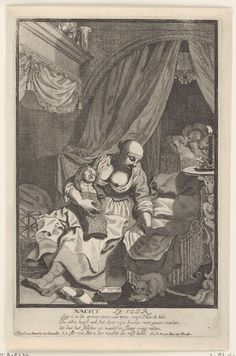 Pieter van den Berge   Nacht / Le Soir, Pieter van den Berge, 1702 - 1726   Een min met onblote borst heeft een gebakerd kind op schoot. Naast haar een rieten wieg. Op de achtergrond een echtpaar, slapend  in een hemelbed. Met een onderschrift van vier regels in het Nederlands. Vierde prent uit de serie: de vier tijden van de dag.