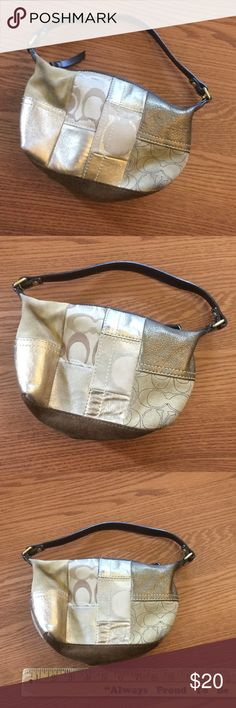 Coach mini purse Small Coach purse in shades of brown and gold.  Leather and suede ~ authentic❗️Overall in good used shape.  Some signs of wear in the last pic, and a small amount in the corners.  You may be able to clean it off. Coach Bags Mini Bags