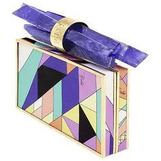 """Emilio Pucci Clutch. This one looks the most like a Pucci to me.Love the blue/purple """"handle""""!"""