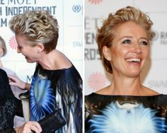 Wondering what haircuts and color looks best on women over age 50? I share the best bobs, shags, shoulder-length cuts and more in this gallery.: Emma Thompson