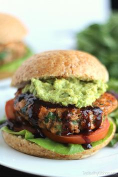 Asian Salmon Burgers with Avocado and Hoisin Sauce (Gluten-Free Option, Too!) burger  #asian