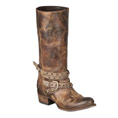 These rugged cowboy boots use a raw look to the leather, which is then emphasized through their belt accented design. The embroidery and studded-belts make these leather cowboy boots classy and stylish.