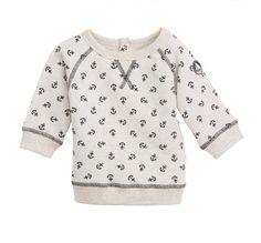 Anchor-printed sweatshirt made of fleece. Vintage Petit Bateau 1920 badge  on the left shoulder. 0c4c12eb50d