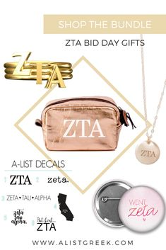 """""""Build-Your-Own"""" Zeta Tau Alpha Bid Day Bundle featuring A-List Greek's best selling ZTA hair ties and buttons with water bottles, necklaces, decals, keychains and more as optional additional gifts. Custom build your new member gift bundles now at www.alistgreek.com! #biddaygifts #sororitybidday #ztabidday #zetataualpha #zta #buildyourown #custom #bidday #bundle #zetagifts #greekletterjewelry"""