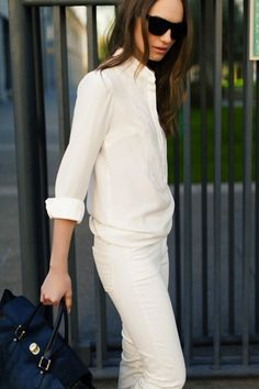 Sacramento Street.  All white look for spring. #fashion #style #white