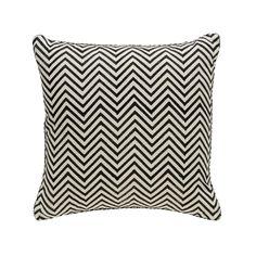 Black Chevron Blockprint Pillow