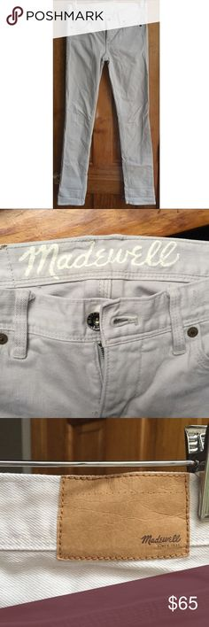 """30%OFF BUNDLE Madewell Rail Straight Jean LIKE NEW Madewell Rail Straight Jeans in light gray. Runs slightly small. If between sizes, go one size up.  Waist:14"""" Inseam:31"""" All measurements are taken with the item laid flat.   LIKE NEW Material:See photos Color:Very light gray. Last photo compares the color to white to give you a better idea. 30% off on bundles. I ship same-day from pet/smoke-free home.Buy with confidence.I am a top seller with close to 600 5-star ratings and A LOT of love…"""